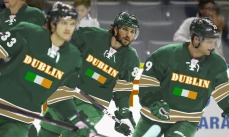 Dublin linemates Jakob Silfverberg (left), Alexander Ovechkin (center) and Cody Hodgson.